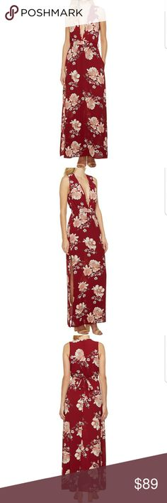 MIRA SLEEVELESS FLORAL MAXI DRESS! MIRA SLEEVELESS FLORAL MAXI DRESS! BEAUTIFUL WOVEN MAXI DRESS WITH ALL OVER FLORAL PRINT IN BURGUNDY COLOR. OFFERS V-NECK LINE WITH SLEEVELESS CONSTRICTION WITH LOVELY BACK TIE.  🌹BRAND NEW WITH TAGS - NEVER WORN 🌹HIGHEST QUALITY PRODUCTS 🌹OFFERS ACCEPTED THROUGH THE OFFER BUTTON ONLY 🌹NO HOLDS/NO TRADES 🌹BUNDLE & SAVE  PLEASE FOLLOW CLOSET RULES AND BE RESPECTFUL THIS IS A BUSINESS THANK YOU! April's Boutique Dresses Maxi