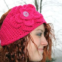 Hot Pink Crocheted Flowered Headband @Stephanie Short...can make flower exchangeable to have orange and red on black band...yes?