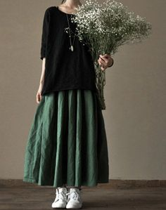 Linen Skirt - Green - Women Dress - Women Skirt(R) on Etsy, Mori Fashion, Modest Fashion, Fashion Dresses, Womens Fashion, Fashion Fashion, Fashion Trends, Women's Dresses, Linen Dresses, Big Skirts