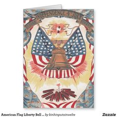 American Flag Liberty Bell Fireworks Greeting Card