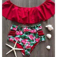 Sexy High Waist Bikinis 2019 New Print Swimwear Women Swimsuit Shoulder Ruffle Bathing Suits Beach Wear Push Up Biquini Female Push Up Bikini, Bandeau Bikini Set, Sexy Bikini, Bikini Top, Off Shoulder Bathing Suit, One Shoulder Swimsuit, Bride Squad Bathing Suit, Bathing Suits, Vintage Bikini