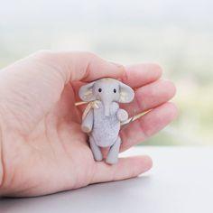 Tiny grey gold elephant Indian toy in matchbox miniature dollhouse pocket sweet…