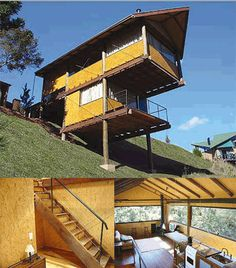 casas/topografia Cliff House, House Deck, Tiny House Cabin, Future House, Houses On Slopes, Pole House, Casas Containers, Rest House, House On Stilts