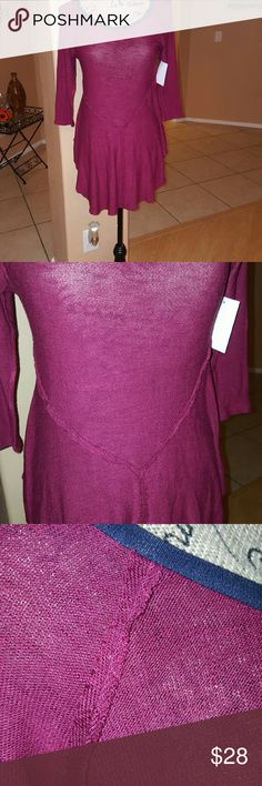 Intimately Free People top Fushia color.  Soft free people. New. Measurements are top of front neck to longest part in front 28 in..shoulder to end of sleeve approx 17 1/ 2 in. Bust approx 32 inches around..very stretchy material.95 % rayon 5% spandex. Free People Tops Tees - Long Sleeve