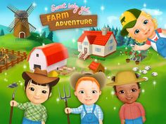 Sweet Baby Girl Farm Adventure and Harvest Fest | Harvest crops, plow soil, drive a farm tractor, grow tomatoes, shear the sheep, groom horses, feed chickens, protect grains from mice attack and more!