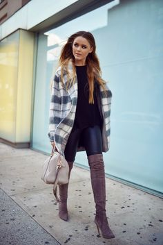 classic coat with suede boots