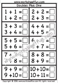 worksheets for doubles plus 1 and doubles minus 1 strategies for fluent addition 1st. Black Bedroom Furniture Sets. Home Design Ideas