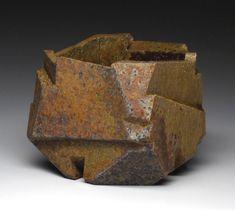 "Jonathan Cross. Lateral Faults. 2011. Stoneware, salt-fired, wood-fired. 4""x5""x4.5""."