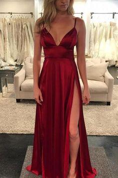 Gorgeous Straps Wine V Neck Long Prom Dress with Slit