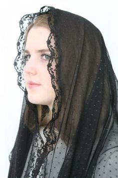 NEW-Chapel-Veil-Mantilla-Infinity-Veil-Scarf-Latin-Mass-Dotted-Black-Lace