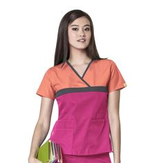 WonderWink Origins - Women's 6026C The Tri-Charlie Orange Shertbet.Pewter/Hot Pink