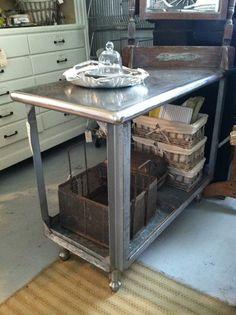 Industrial kitchen cart. Bar cart.