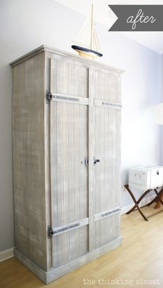 ikea hack whitewashed fjell wardrobe with pallet shelves via