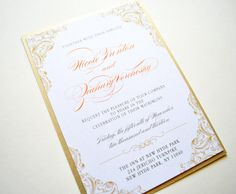 Peach Lace Wedding Invitations, Lace Wedding Invitations by Whimsy B. Paperie, $6.95