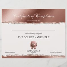 Certificate of Completion Award Course Completion | Zazzle.com Logo Ig, Course Completion Certificate, Certificate Of Appreciation, Gift Certificates, Personal Photo, Awards, Place Card Holders, Paper, Prints