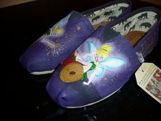 Custom Hand Painted Shoes - Tinkerbell. $125.00, via Etsy. (This guy has some UNBELIEVABLE Disney-Themed TOMS! And Adriana has informed me she wants ALL of them... I wonder if he can do kids TOMS?)