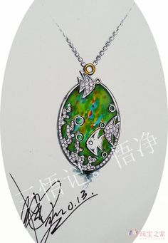 """PENDANT """"Goldfish"""" A wonderful goldfish emerged from the sea foam in order to fulfil a wish of its master. Painters like fairy-tales, and this pendant is a splendid illustration to the famous fairy-tale which will be always with you."""
