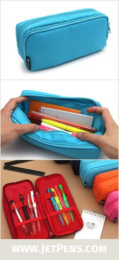 This convenient and capacious pen case combines two types of storage into one case to keep your supplies organized!
