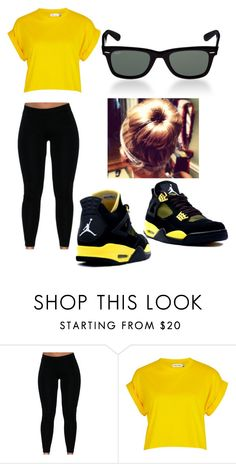 """Black and yellow"" by whatdreams ❤ liked on Polyvore featuring River Island, Retrò and Ray-Ban"