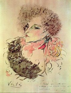 Portraits of the writer Sidonie Gabrielle Colette by Marcel Vertès