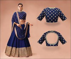 Blouse Back Neck Designs - Sabyasachi Blue Blouse Back Neck Design Blouse back neck designs have been a rage. Here are 54 stylish back neck blouse designs, Pick the best blouse to complement your designer saree. Blouse Back Neck Designs, Sari Blouse Designs, Fancy Blouse Designs, Designer Blouse Patterns, Bridal Blouse Designs, Latest Blouse Designs, Choli Designs, Lehenga Designs, Designer Bridal Lehenga