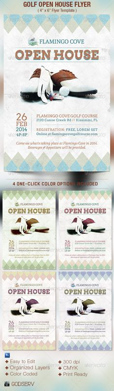 Vintage Golf Flyer Template AI, PSD Flyer Design Templates - open house templates