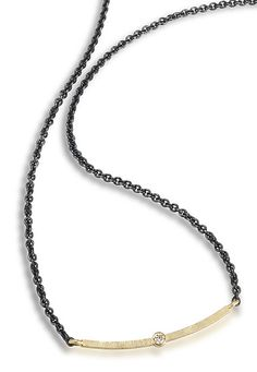Diamond Bar necklace by Giselle Kolb. Oxidized sterling silver chain (approx. 1.7mm dia.) 18k gold, 0.03 ct. diamond. Necklace is 17 inches long. bar is approx. 1.25
