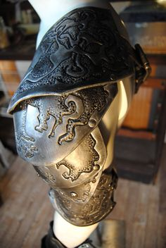 Black and Silver Skull Shoulder Armor and by AirshipIsabella