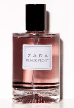 Zara perfume- Black Peony. Top note is bergamot; middle notes are freesia and peach; base notes are vanilla and sandalwood.