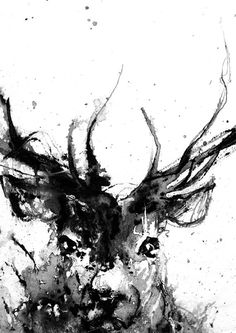 Hert herten hoofd dierlijke Art Print Deer kunst door ArtByJoonas