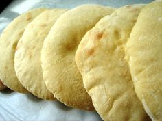 pita bread  .........another pinner says :This was so simple to make and fairly quick, and the result was incredible.  This blows store-bought pita bread out of the water.  The pitas were amazingly soft and airy, and tasted fabulous.