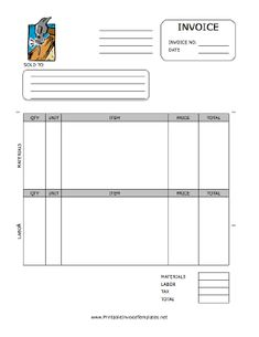 A printable invoice for use by a handyman or home repair company, featuring a full-color graphic of a nail on wood. It has spaces to note quantity, unit, item, price, and more, separated by materials and labor. It is available in PDF, DOC, or XLS (spreadsheet) format. Free to download and print