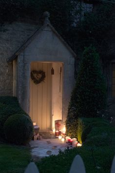Make outside look as inviting as inside with candle-lit path.