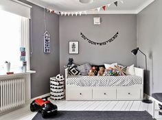 Grey kid's room, with ikea hemnes bed | the boo and the boy