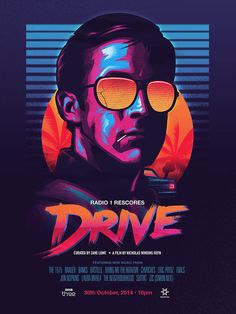 Drive Poster in Synthwave