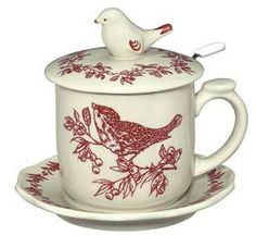 Red Toile Bird Covered Mug