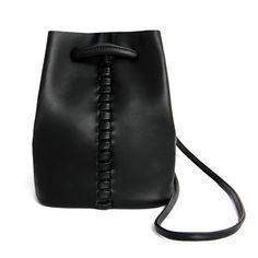 Drawstring Leather Bucket Bag in Black