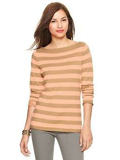 Eversoft envelope-neck neon striped sweater