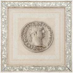 Eichholtz Antique Coin Print - Domitianus (330 AUD) ❤ liked on Polyvore featuring home, home decor, wall art, grey, antique wall art, bronze wall art, antique home decor, gray home decor and heart wall art