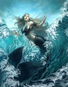 I love all fantasy and mythical stuff, but my favorite ones are mermaids.So this is a collection of mermaid images I've been picking all over the internet. Fantasy Girl, Fantasy Mermaids, Mermaids And Mermen, Fantasy Art Warrior, Mermaid Artwork, Mermaid Drawings, Mermaid Paintings, Mermaid Images, Mermaid Pictures