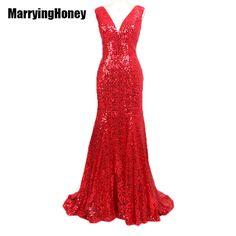 6e4c4c317dd Long Sequin evening dresses plus size formal womens wedding party robe de soiree  longue vestido de noche mermaid prom dress 2016-in Prom Dresses from ...