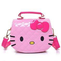 f7b9729dd1 New Cute Mini Bag Children Hello Kitty Handbag For Women Cartoon Cat PU  Waterproof Should Bag