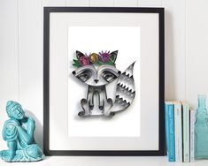 Raccoon Art, Woodland animals decor, Nursery wall art, Quilled art, Racoon gift