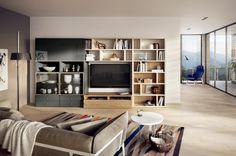 modernes wohnzimmer gestalten wohnwand sofa decke
