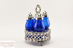 Victorian Style Castor Set  Condiment Caddy  Vintage Cobalt