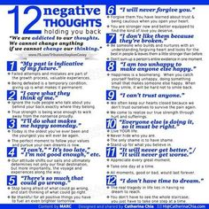 12 Negative Thoughts Holding You Back happy life happiness positive emotions lifestyle mental health confidence self improvement infographics self help emotional health Therapy Worksheets, Cbt Worksheets, Therapy Activities, Burn Out, Stress, Cognitive Behavioral Therapy, Cognitive Distortions, Occupational Therapy, Therapy Tools