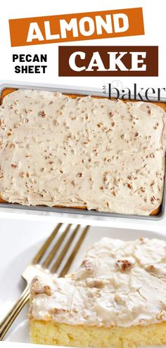 Fun recipe cake with lots of almond pecan sheet cake perfect for summer! Let your kids experience how flavorful it is and let them tell their friends how awesome it was. Prepare yourself to make another one! Save this pin for later! Yummy Recipes, Easy Cake Recipes, Cupcake Recipes, Easy Desserts, Baking Recipes, Delicious Desserts, Cupcake Cakes, Dessert Recipes, Cupcakes