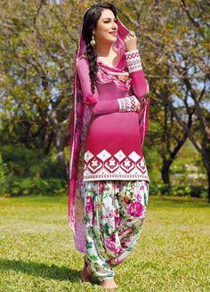 Pink Multicolor Cotton Punjabi Suit