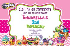 Shopkins Birthday Invitations $8.99