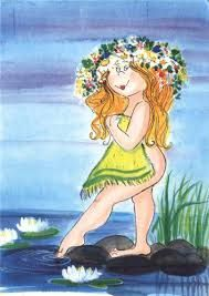 Neito suviyössä (Mermaid Suvi in the night) By Virpi Pekkala, Finland Illustration Girl, Character Illustration, Plus Size Art, Painting People, Cute Characters, Whimsical Art, Illustrations, Various Artists, Cute Drawings